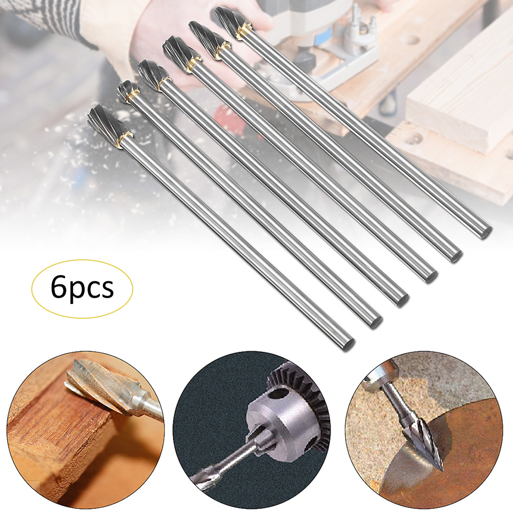 "6pcs 10mm Rotary Aluminum Cut Burr 6mm 1//4/"" Shank 150mm Long Reach Carbide Burs"