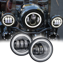 Motorcycle 4 1/2″ 4.5 Inch LED Fog Light Passing Auxiliary Lamps White Angle Ayes For Harley Touring Road King Scooter