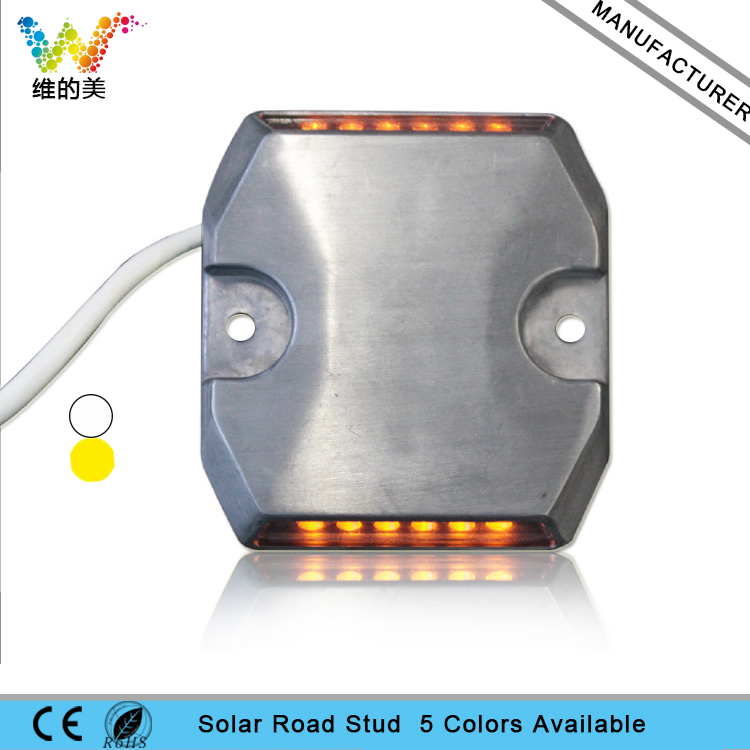 2 Pieces One Pack 24V Wired Raised Pavement Maker Tunnel Aluminum Coastal Safety Road Stud Light Yellow