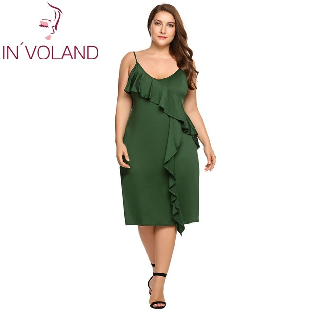 Women Dress Summer A-line Plus Size Spaghetti Strap Deep V-Neck Strappy Solid Ruffled Ladies Party Dresses Vestidos 3
