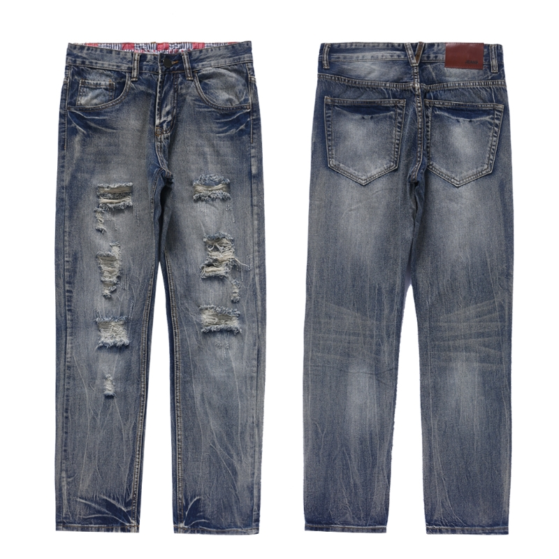 Mens Cool Style Jeans With Broken Holes Skinny Fit Stretch Long Trousers