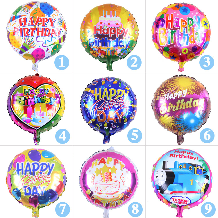 18 Inch Mini Cartoon Aluminium Film Balloons Birthday Party Decoration Happy Brithday Cake Modelling Balloon Kids Shower Toys