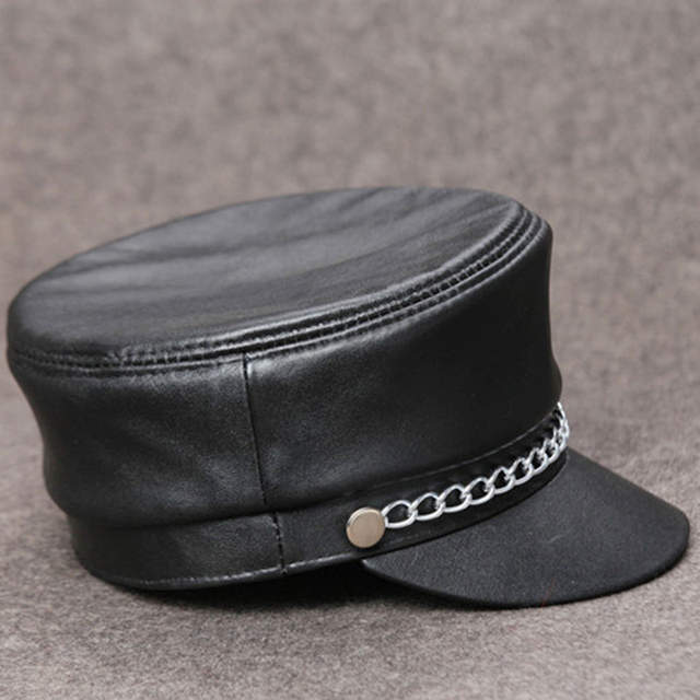 e85a38aa24d fashion women casual chain genuine leather hat vintage cap motorcycle  sheepskin material cap D-1854