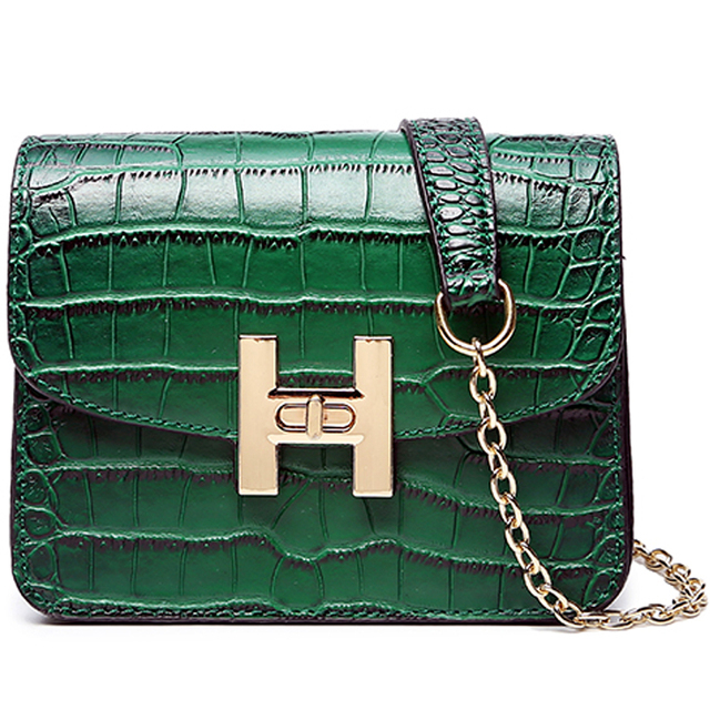 09bae445193b Fashion women bag small handbag Crocodile pattern gold Chain quilted bag  female brand red green black purse shoulder bag mini
