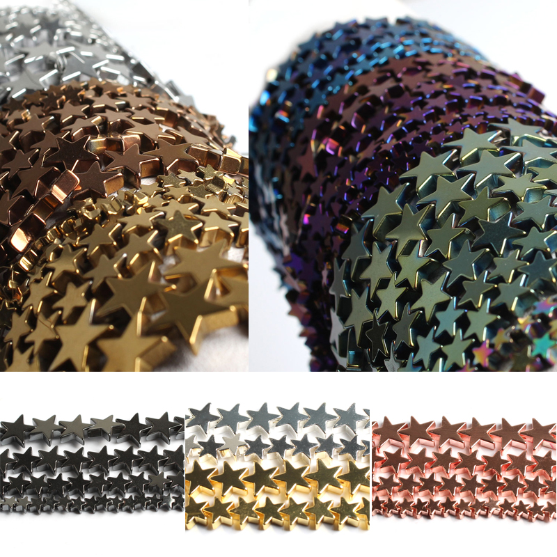 Wholesale Star Shape Plating Hematite Stone Loose Spacer Beads for Jewelry Making Diy Bracelet Necklace 4/6/8/10mm 15 Inches