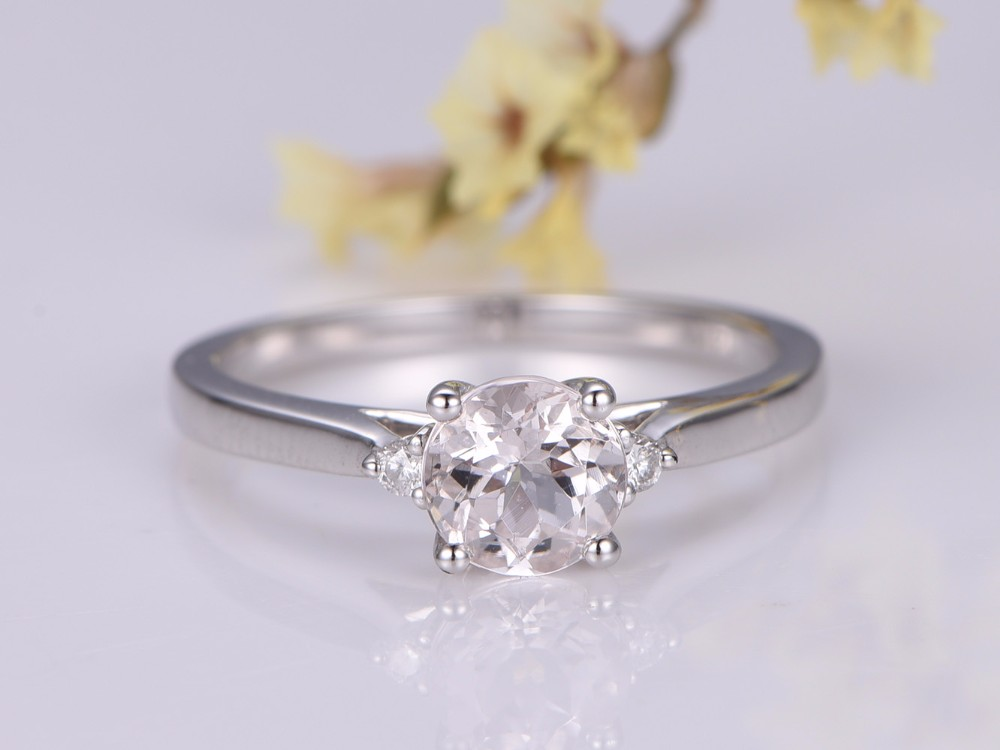 Morganite Engagement Ring mm Round Cut Stone Diamond Band Bridal Wedding Ring