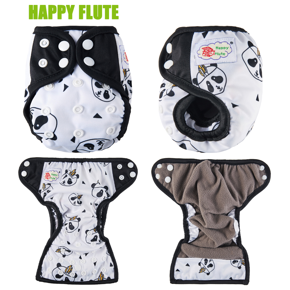 Cloth Diapers PUL Happy-Flute Bamboo-Charcoal Double-Gussets Newborn NB Breathablle Waterproof title=