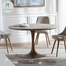 Луи мода обеденный стол твердой древесины Круглый скандинавский металлический дизайн Ноги Современный простой