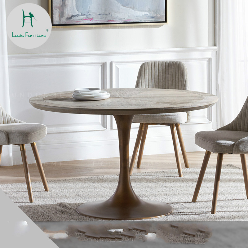 Us 975 9 Louis Fashion Dining Tables Solid Wood Round Scandinavian Metal Leg Design Modern Simple In From Furniture On Aliexpress
