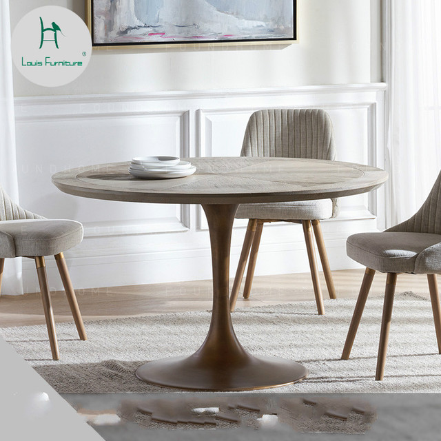 Louis Fashion Dining Tables Solid Wood Round Scandinavian Metal Leg Design Modern Simple
