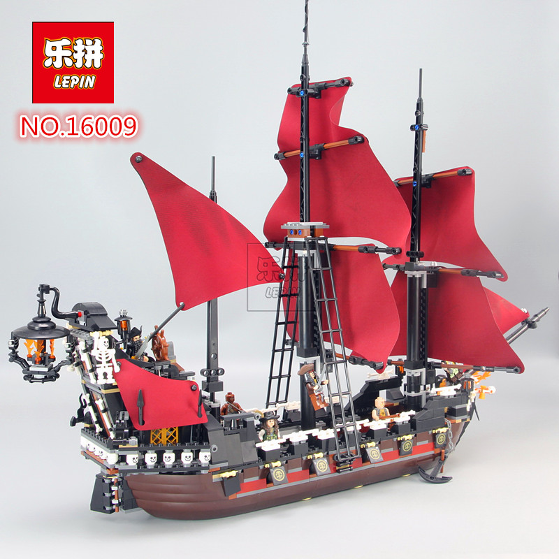 2018 Neue LEPIN 16009 1151 stcke Queen Anne rache Fluch der Karibik Bausteine Set Bricks Kompatibel legoed 4195 free shipping new lepin 16009 1151pcs queen anne s revenge building blocks set bricks legoinglys 4195 for children diy gift