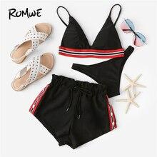 Romwe Sport Striped Bikini Set High Cut Swimsuit Whith Shorts Black 3 Piece Women 2019 Tankini Triangle Swimwear