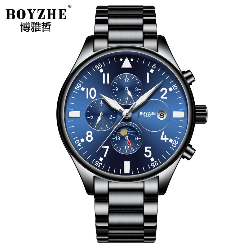 Relojes Hombre Free Shipping Stainless Steel Mens Watches Top Brand Luxury Chronograph Automatic Watch