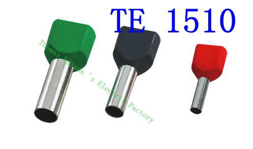 DIANQI TE1510 Two Pre-insulated Pipe-shaped End Cold pressed terminals/Cable Connector/Wire Connector 1000PCS/Pack rnb3 5 10 circular naked terminal type to cold pressed terminals cable connector wire connector 1000pcs pack