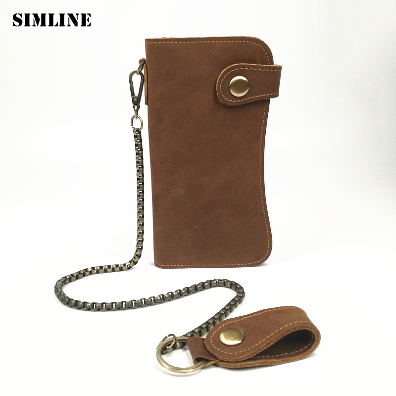 SIMLINE Genuine Leather Men Wallet Men's Long Vintage Crazy Horse Cowhide Chain Wallets Purse Zipper Coin Pocket Card Holder simline vintage genuine crazy horse cow leather men men s long hasp wallet wallets purse zipper coin pocket holder with chain