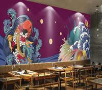 Commercial wallpaper Japanese koi restaurant sushi shop background wall
