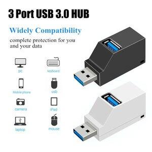 1Pc universel 3 ports USB Hub Mini USB 2.0 3.0 haute vitesse Hub répartiteur boîte pour PC portable U disque carte lecteur pour téléphone portable Hub