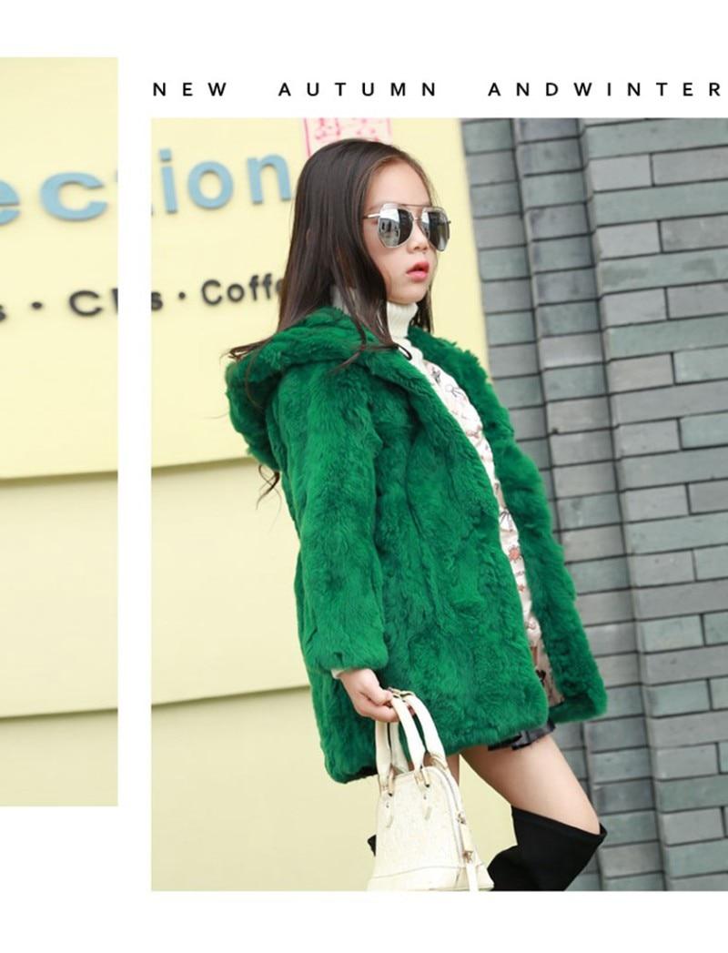 9e9ccd526 CROAL CHERIE 100 160cm Winter Real Rabbit Fur Coat For Teenager ...