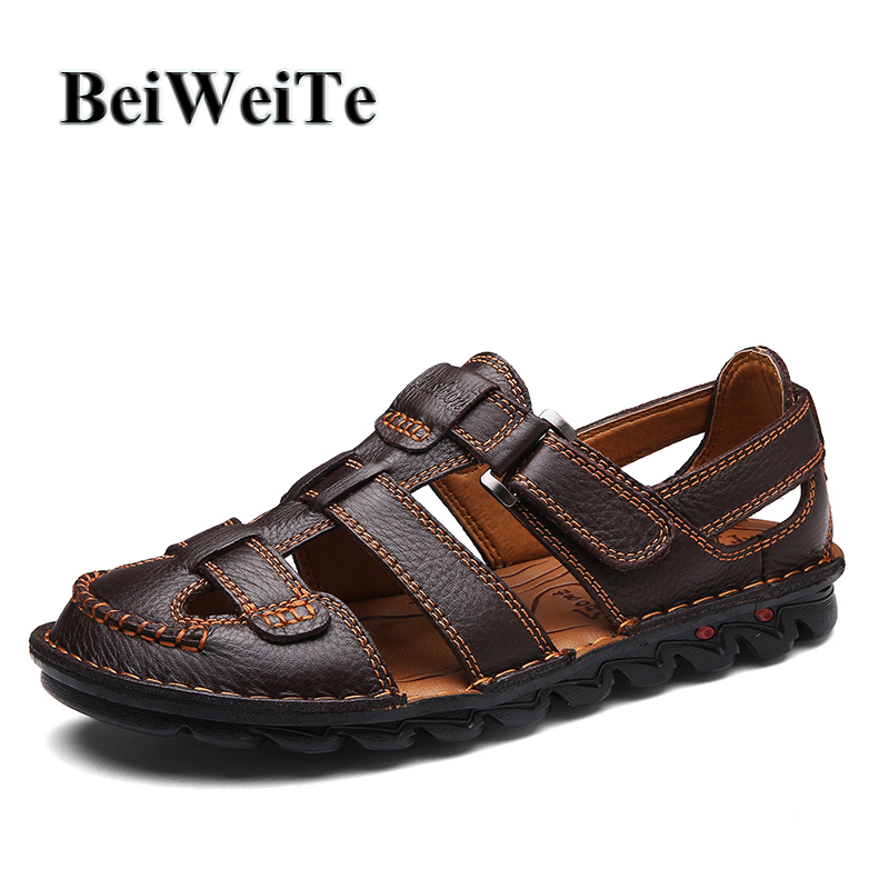 BeiWeiTe Summer Mens Trend Outdoor Beach Sandals Safety Closed Toe Beach Shoes Men Anti-skid Genuine Leather Walking Shoes Hot