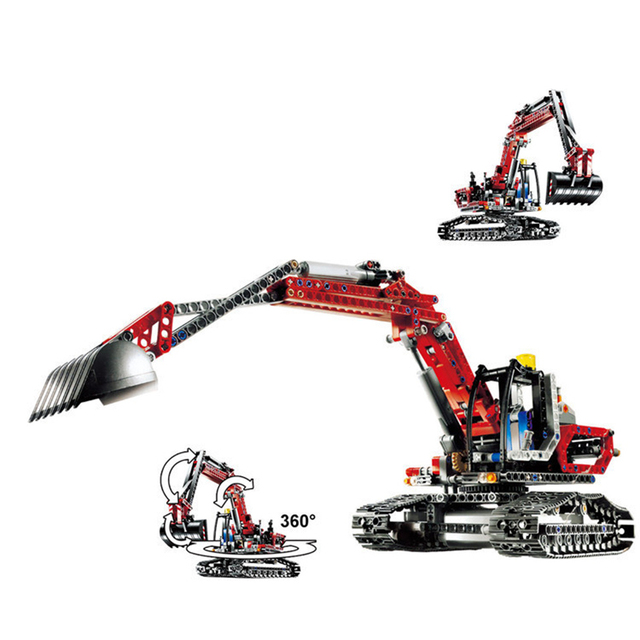 Red Engineering Excavator Fit Legoness Technic 8294 760pcs Building Blocks Bricks Educational Toys For Children Christmas Gift