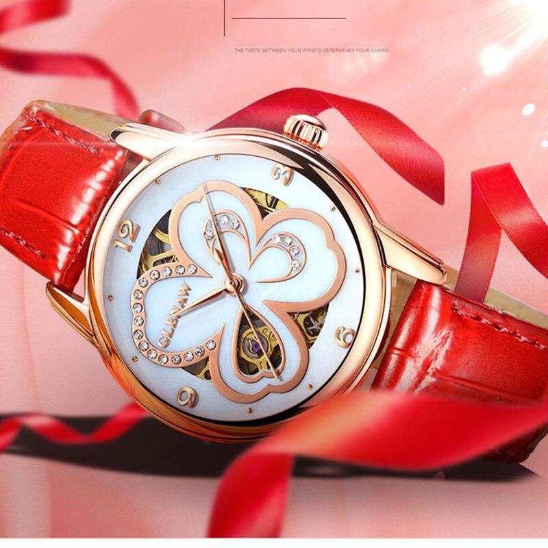 GLENAW Fashion Women Watch Ladies Clocks Casual Waterproof Mechanical Wristwatch Gift For Wife/Girlfriend