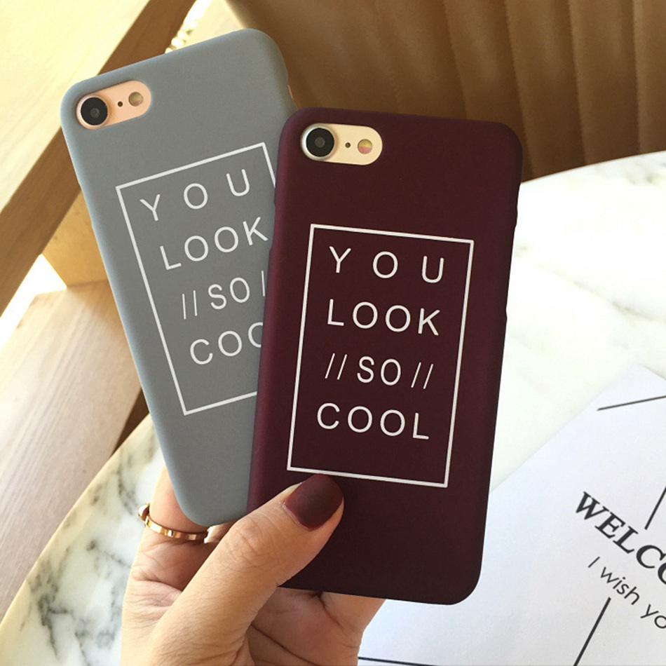 KISSCASE Couple Case For iPhone 5 5S SE Cover Case For iPhone 6 6S Plus 7 8 Plus Cool Text Hard PC Matte Phone Case For iPhone X