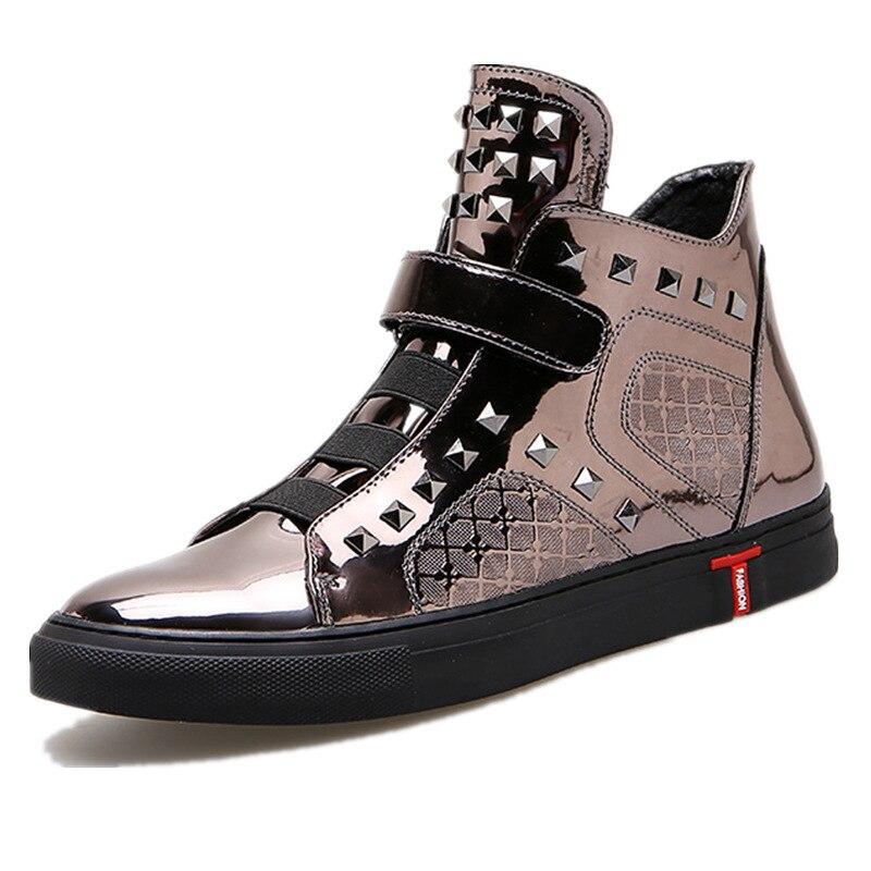 men casual shoes shiny leather gun metal color high top plain shoes rivet man's quality hip hop shoes zapatillas hombre XK110303