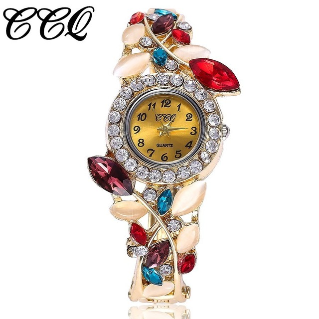 CCQ Brand Women Bracelet Watch Alloy Flowers Diamond Wrist Watches Ladies Dress