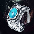 Goros Feathers 925 Thai Silver Jewelry Authentic Replica Takahashi GORO Turquoise Ring For Men Creativity Fashion Free Shipping