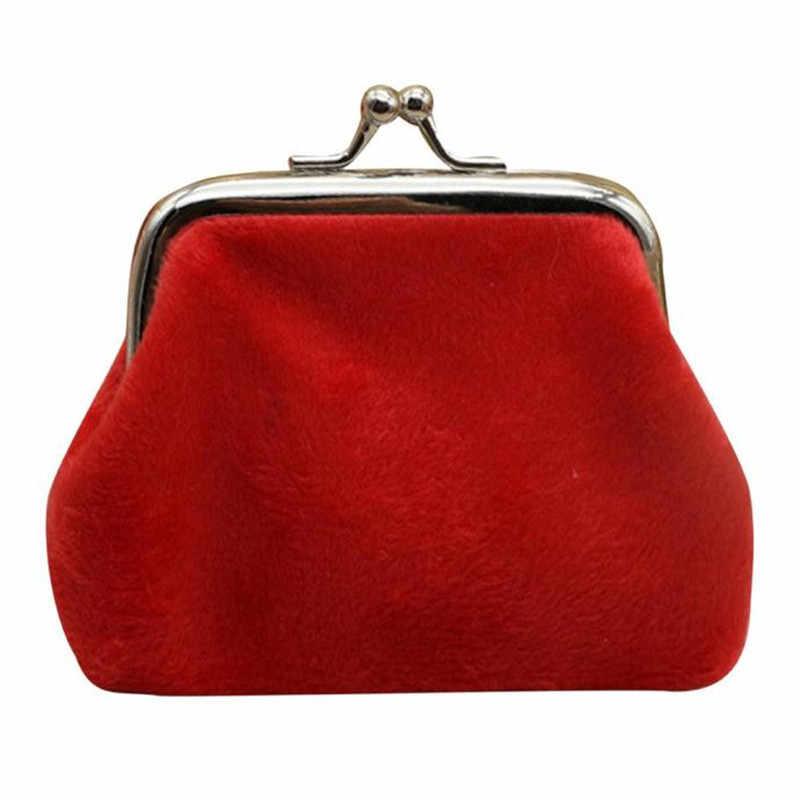 Вельветовая женская сумка для монет 2018 г. хит продаж, милый держатель для девочек, кошелек с небольшой застежкой, кошелек для карт, чехол для ключей на молнии, зажим для денег