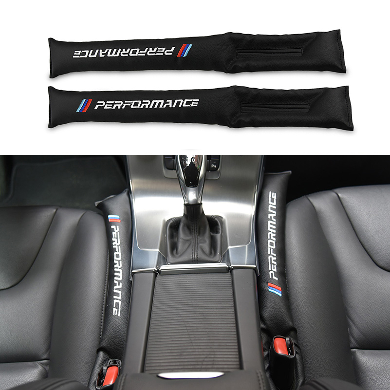 2pcs Black M perfomance M3 Car Seat Gap Filler Covers Spacer PU Leather For BMW