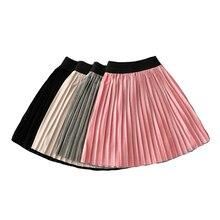 New Children Fashion Girl Pleated Long Skirts Ruffle Velvet Cute Child Skirt Kids Smooth Pettiskirt Toddlers Baby Girls Clothes