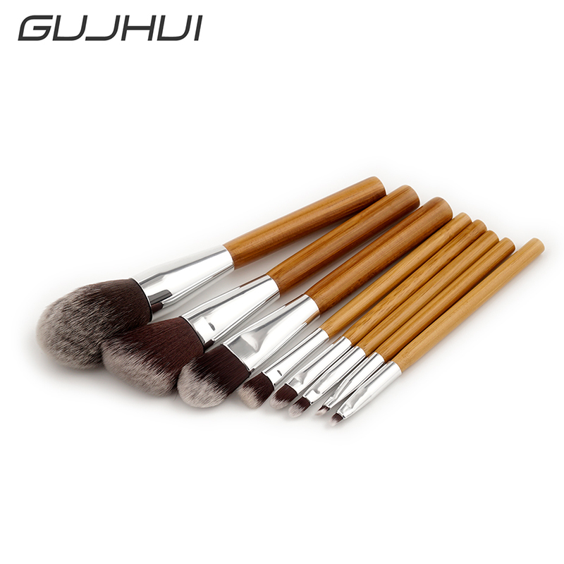 GUJHUI 8pcs make up brushes 8pcs brush set professional Nature bristle brushes beauty essentials makeup brushes with bag top qua nature explorer box set