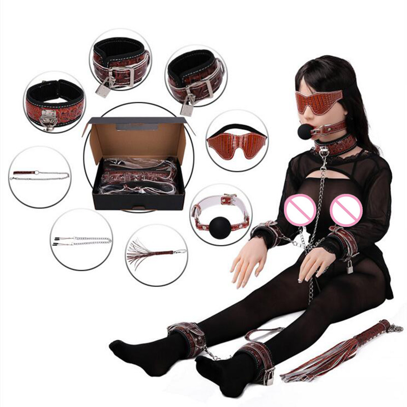 Leather Mouth Gag Ball,Eye Mask,Whip,Nipple Clamps,Hand Cuffs Set Fetish BDSM Bondage Slave Flirting Adult Sex Toys For Couples pu leather bondage restraints o ring gag nipple clamps slave collar fetish erotic adult games sex toys for couples