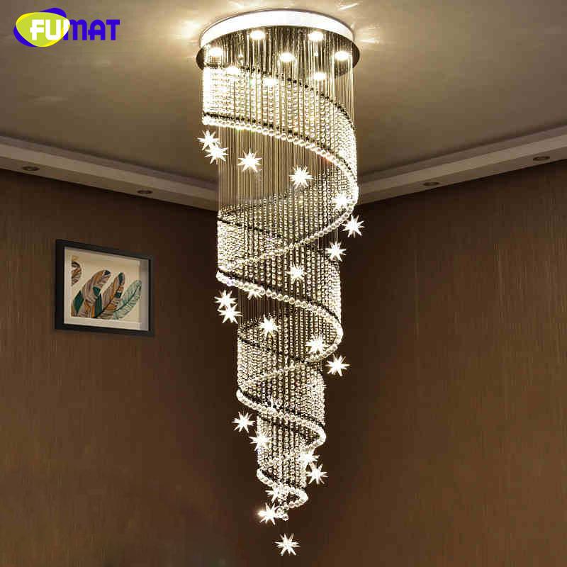 FUMAT Modern Luxury K9 Crystal LED Chandelier Light for Living Room Hotel Stairs Villa Hall Meteor Spiral Chandelier Lighting lace panel sheer mesh skirt