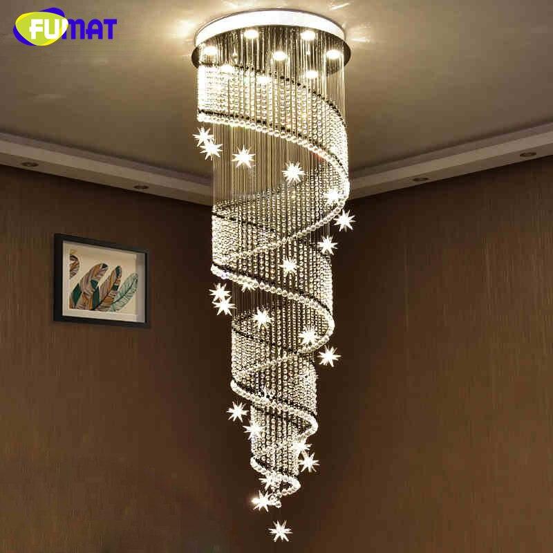 FUMAT Modern LED K9 Crystal Chandeliers For Living Room Hotel Stairs Large Crystal Chandelier Lightings Meteor Spiral Chandelier