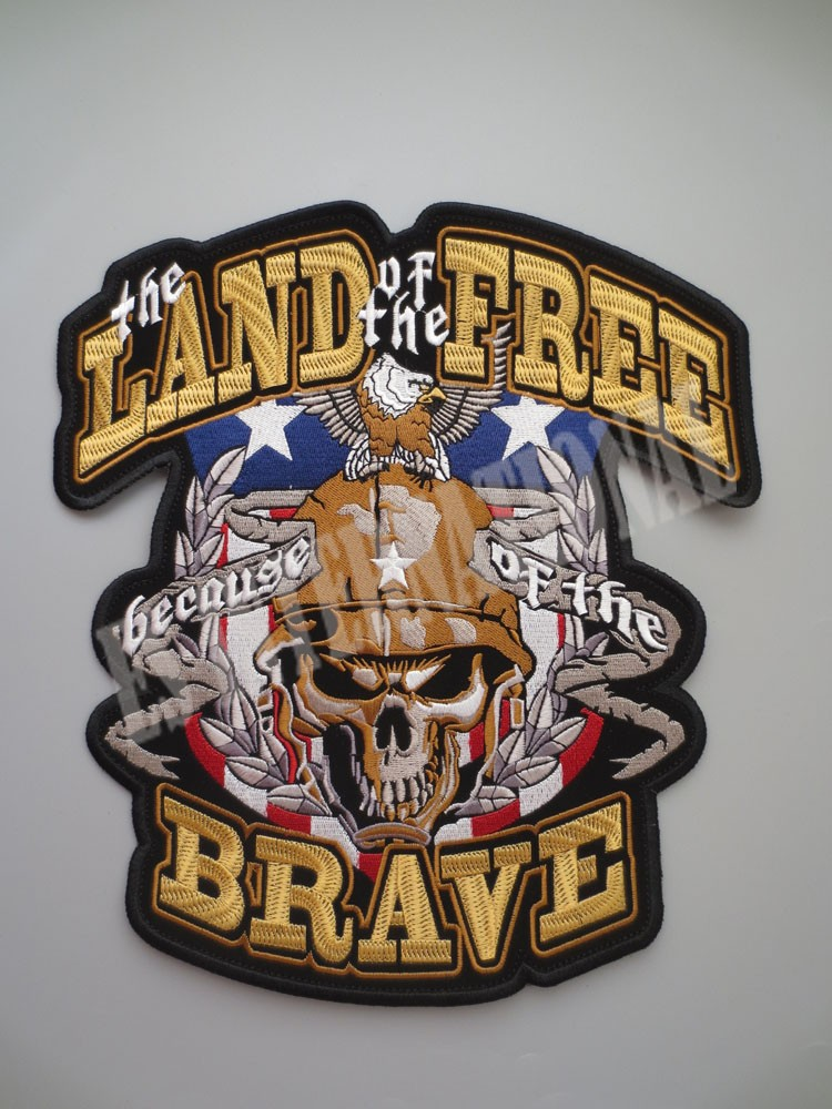 usa soldiers Knight SkullLAND FREE BRAVE Exquisite Embroidry Patches for Jacket Back Vest Motorcycle Biker 27CM*30CM