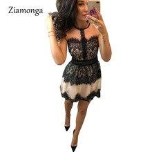 Ziamonga элегантное кружевное платье Для женщин лето-осень Платья для вечеринок Дамы Vestido линии o-образным вырезом без р