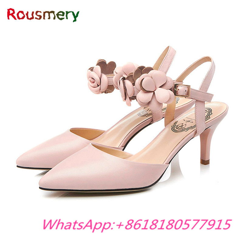 Elegant Office Lady Thin High Heels Woman Sandals Summer Party Flower Zapatos Mujer Tacon Fashion Ankle Strap Sapatos Feminino