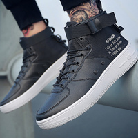 High Top Sneakers Men Spring/autumn Shoes 2019 Solid PU Leather Size 46 Leisure Designer Shoes Male Sneakers