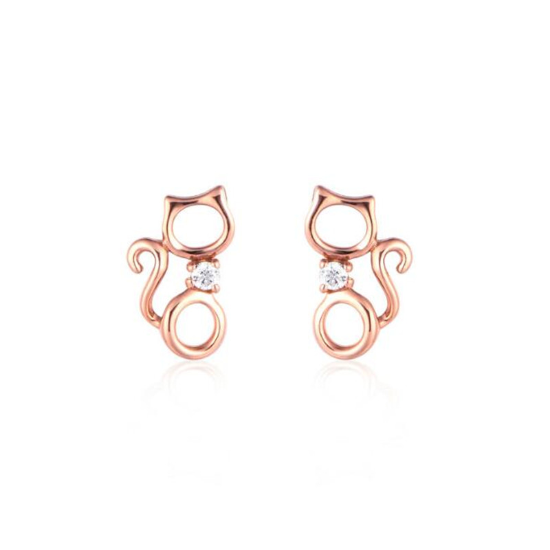 18K Gold New Women Rose Gold Color Stud Earrings For Women Lovely Hollow Out Cats Cartoon Earrings AU750 Fine Jewelry Gifts Hot pair of stylish rhinestone triangle stud earrings for women