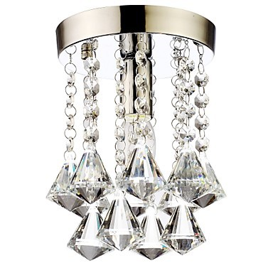 Lustres De Cristal, Modern LED Crystal Ceiling Lights Lamp With 1 Light For Living Room Bedroom Lighting Free Shipping tiffany mediterranean style peacock natural shell ceiling lights lustres night light led lamp floor bar home lighting