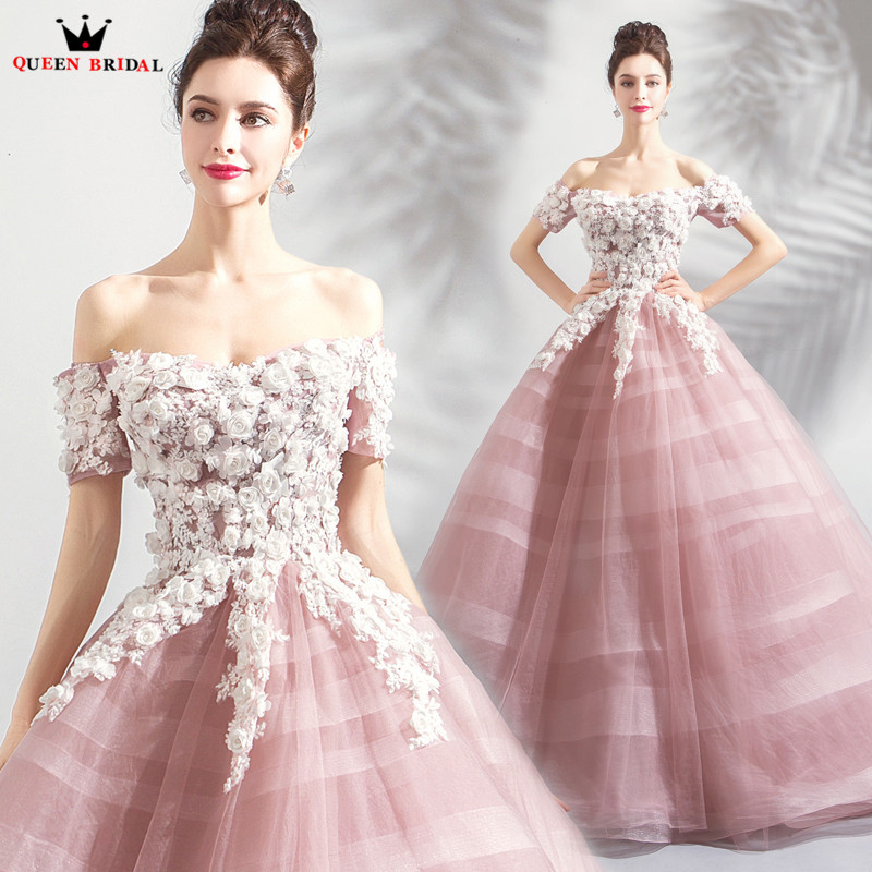 Ball Gown Short Sleeve Fluffy Tulle Lace Flowers Appliques Evening Dresses 2020 New Arrival Evening Gown Robe De Soiree JU66