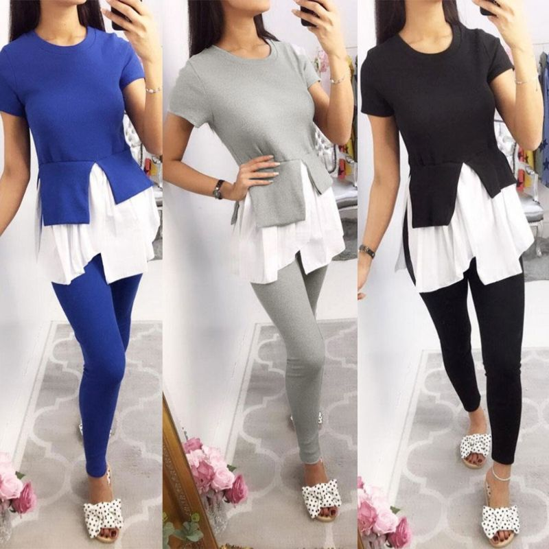 2019-women-summer-two-pieces-solid-color-short-sleeve-tunic-t-shirt-top-leggings-pants