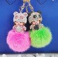 10 Colors Porte Clef Marque Fox Fur Ball Monchhichi Brand Crystal Keychain Monchhichi Metal Keychains Porte Clef Strass Keyrings