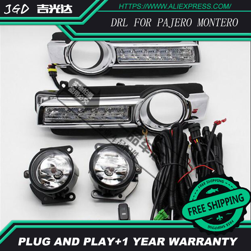 hot sale ! 12V 6000k LED DRL Daytime running light case for Mitsubishi Pajero Montero 2015 2016 2017 Daytime Running Light