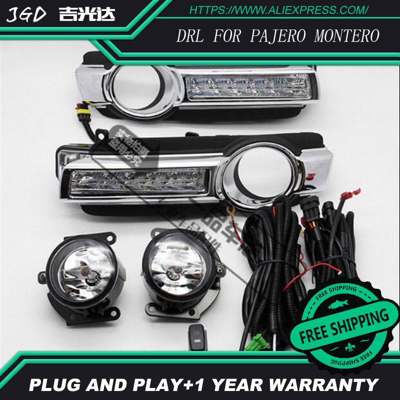 hot sale ! 12V 6000k LED DRL Daytime running light case for Mitsubishi Pajero Montero 2015 2016 2017 Daytime Running Light