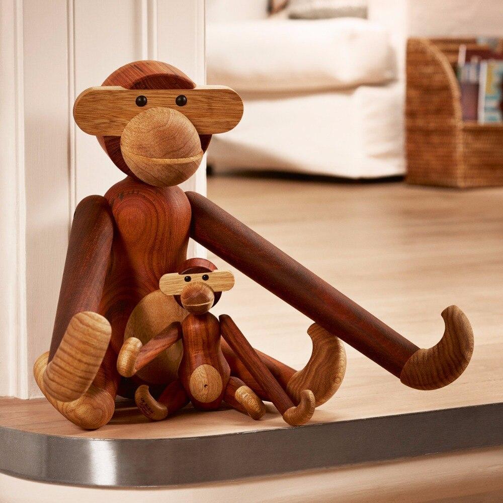 Three wise monkeys wooden ornaments - Kay Bojesen Gift Bag Mail Monkey Puppet Denmark Creative Design Home Furnishing Nordic Wood Ornaments