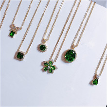 Vintage Natural Emerald Necklace Pendants For Women 100% 925 Sterling Silver Green Gemstone 18K Gold Clavicle Chain Fine Jewelry