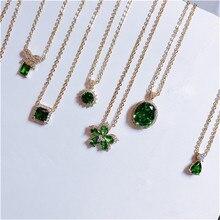Vintage Natuurlijke Emerald Ketting Hangers Voor Vrouwen 100% 925 Sterling Zilver Groen Edelsteen 18K Gold Sleutelbeen Ketting Fijne Sieraden